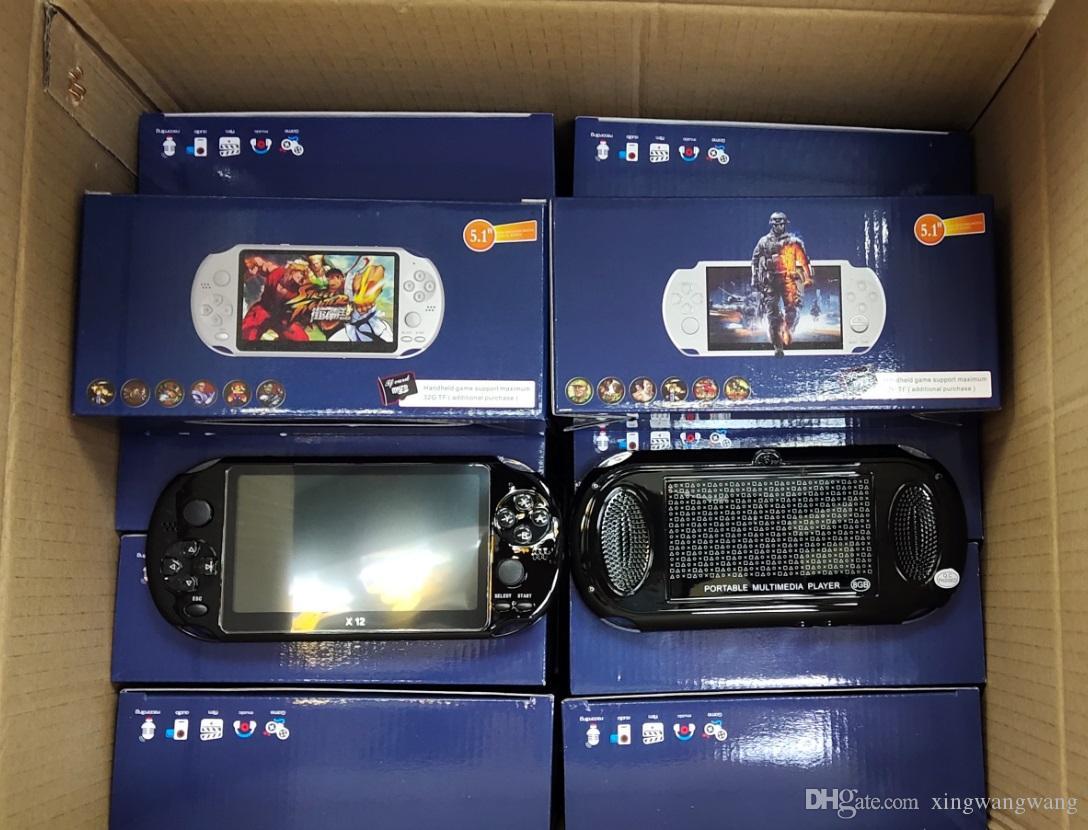 الجملة 5.1 بوصة X12 لعبة محمول لاعب 8GB الذاكرة المحمولة الفيديو أنظمة تشغيل الكاميرا مع دعم TF بطاقة 32GB لاعب MP3 MP4 لعبة