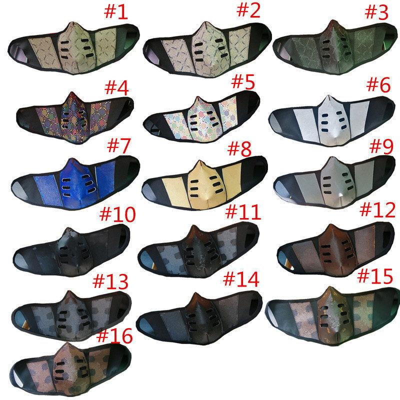 Unisex-Gesichtsmasken PU-Leder-Gesichtsmaske Mode-Druck staubdicht Mundabdeckung langlebige Outdoor-winddichte Party Gesichtsmasken für Weihnachten