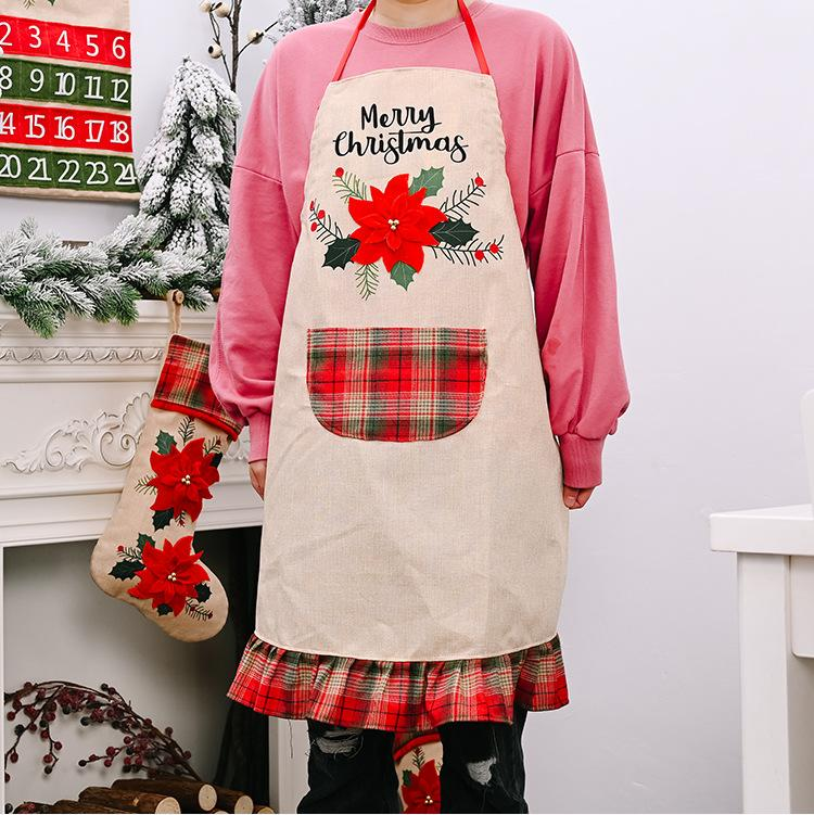 New Christmas decoration supplies big red linen apron creative adult Christmas apron restaurant atmosphere dress up T3I51329