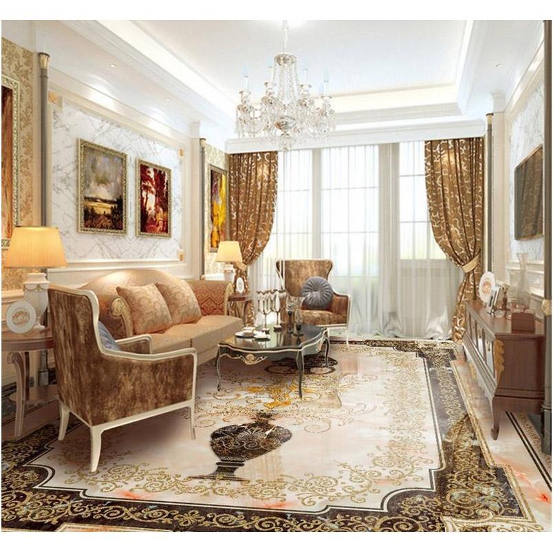 custom self-adhesive 3d floor wallpaper mural classic european style vase marble floor tile wall paper sticker living room papel de