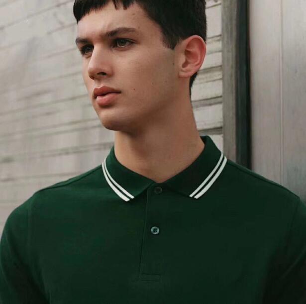 Comprar valor de 2017 del verano del estilo británico de los hombres de moda 100% algodón Perry Polo de New London sólido T-shirt camiseta Casual Tops Blanco Verde S-XXL