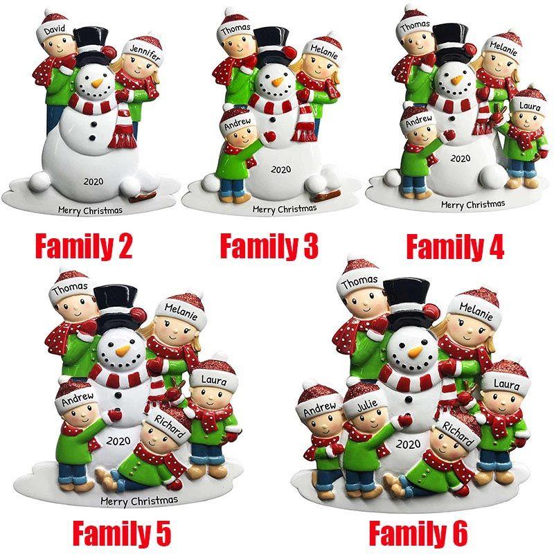 Hot Natale personalizzati ornamenti Survivor Quarantine Famiglia 2 3 4 5 6 Maschera del pupazzo di neve a mano Sanitized Xmas Decorating giocattoli creativi Ciondolo