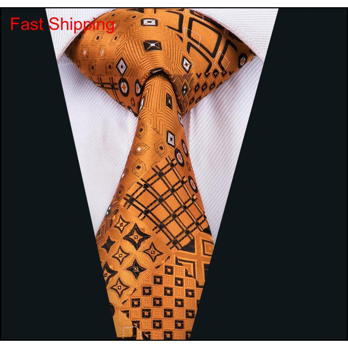fashion men tie classci silk mens neck ties gold tie sets tie hanky cufflinks sets jacquard woven meeting business wedding party gift