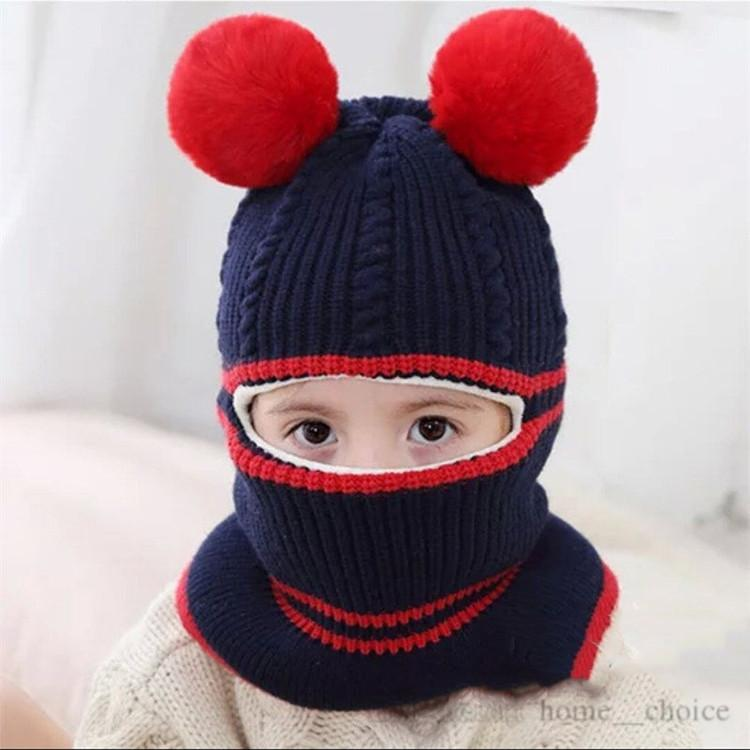 Children's hat autumn and winter tide boy baby plush knitted hat girl face protection ear collar integrated cap party hat ZJ00348