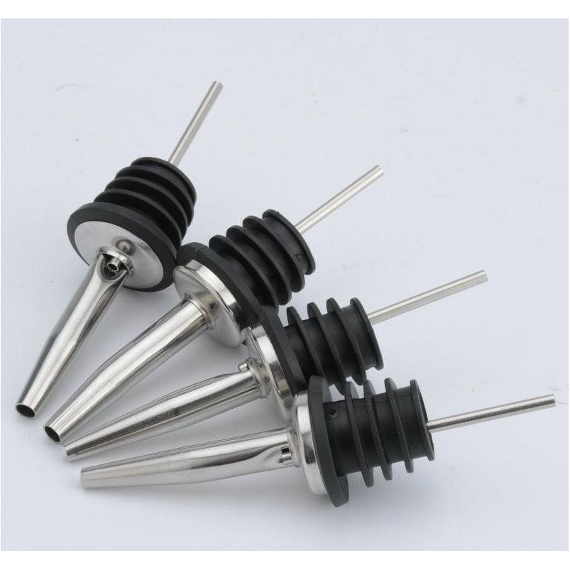wholesale stainless steel pouring device wine olive oil pourer dispenser spout glass bottle pourer black wine stopper mouth dh2563 dbc
