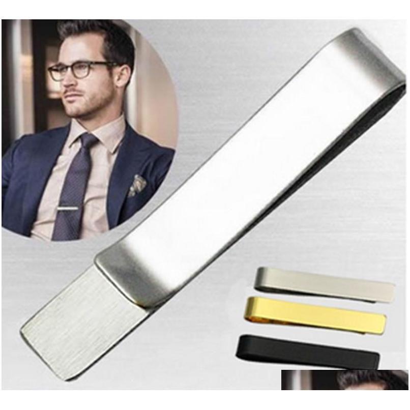 stainless steel tie clip pins bars golden slim glassy necktie business suits accessories ti01