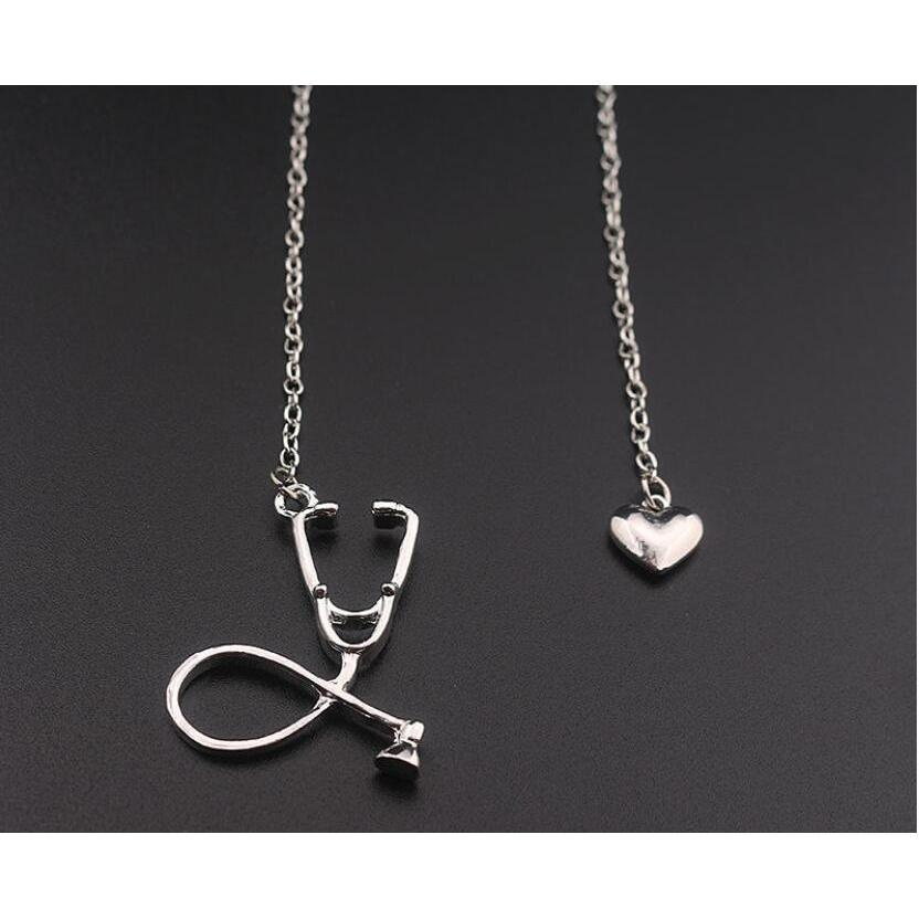 fashion medical jewelry alloy i love you heart pendant necklace stethoscope necklace for nurse doctor jewelry gift wholesale