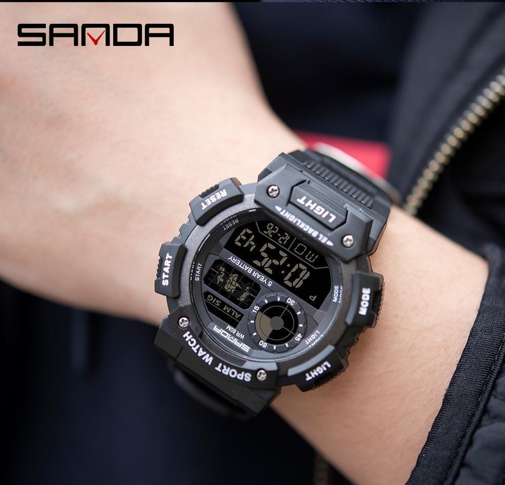 Sanda Black Sports Waterproof Led Digital Watch Men Sport Watches Electronic Male Wrist Watch For Men Clock Relogio Masculino wmtzUi