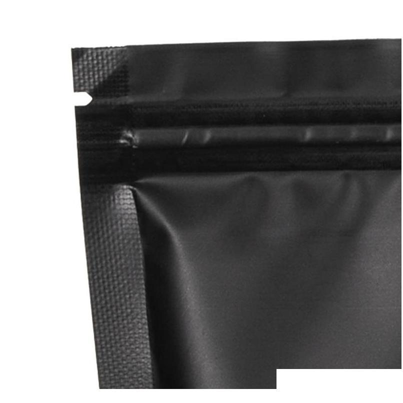 100 pack 6.3 inchx8.6 inch smell proof bags - resealable stand-up mylar bags foil pouch double-sided bag,matte black