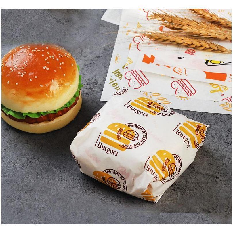 100 pcs oil-proof wax paper for food wrapper paper bread sandwich burger fries wrapping baking tools fast food customized supply