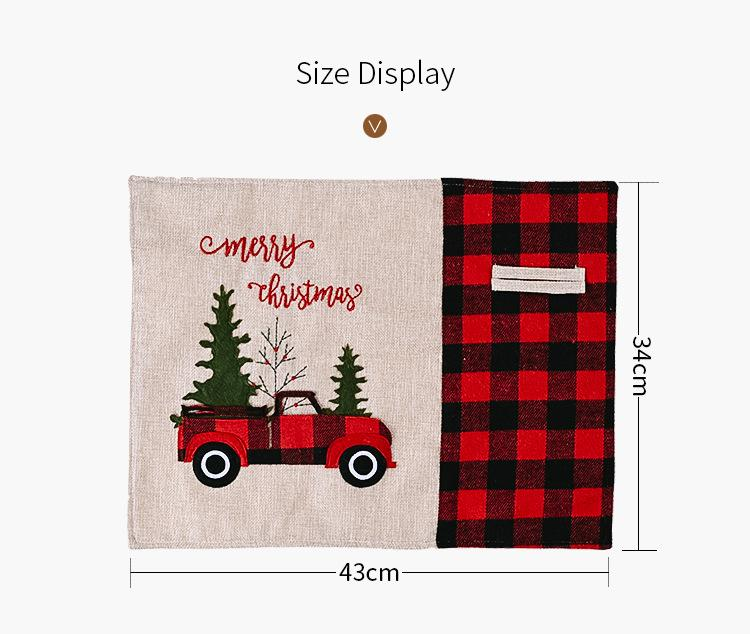 Christmas decorations Magenta black grid car Christmas place mat cartoon tablecloth table mat home table dress up T3I51336