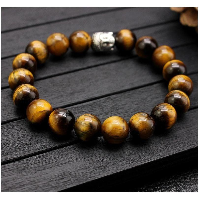 fashion 10mm tiger eye beads buddha men bracelets prayer chakra healing meditation turquoise natuarl stone yoga women jewelry