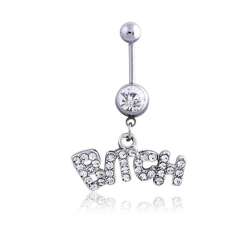 silver/pink sexy crystal body piercing surgical button belly ring jewelry navel bar