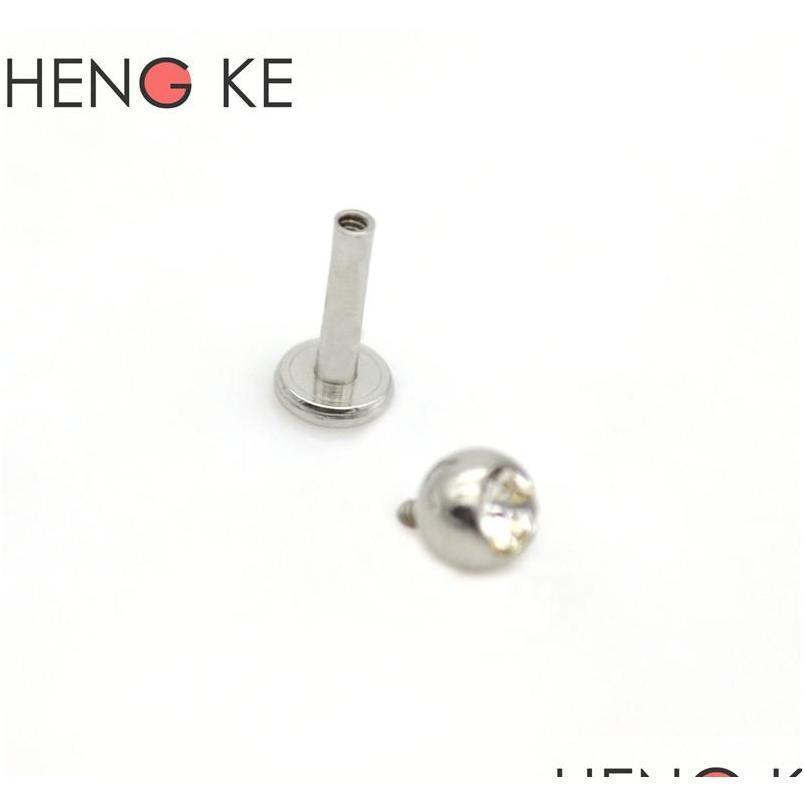 labret ring 16g lip rings earrings stud crystal clear gem cartilage tragus bars piercing gauges body jewelry internally threade