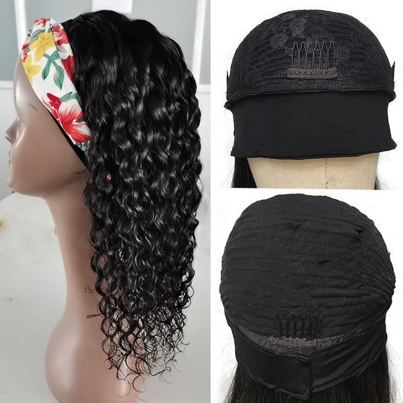Wave brasileño onda de onda diadema peluca cabello humano pelo virginal peluca rizada brasileña fácil instalar peluca de pelo rizado con diadema