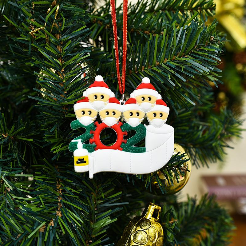 DHL Christmas Ornament DIY Greetings Quarantine Christmas ornaments 2020 Party Pandemic Social Distancing Christmas Tree Pendant Accessories