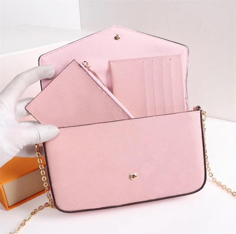 Qualidade design de luxo mulheres saco de três peças cadeia carteira menina bolsa de ombro mulher embreagem com caixa