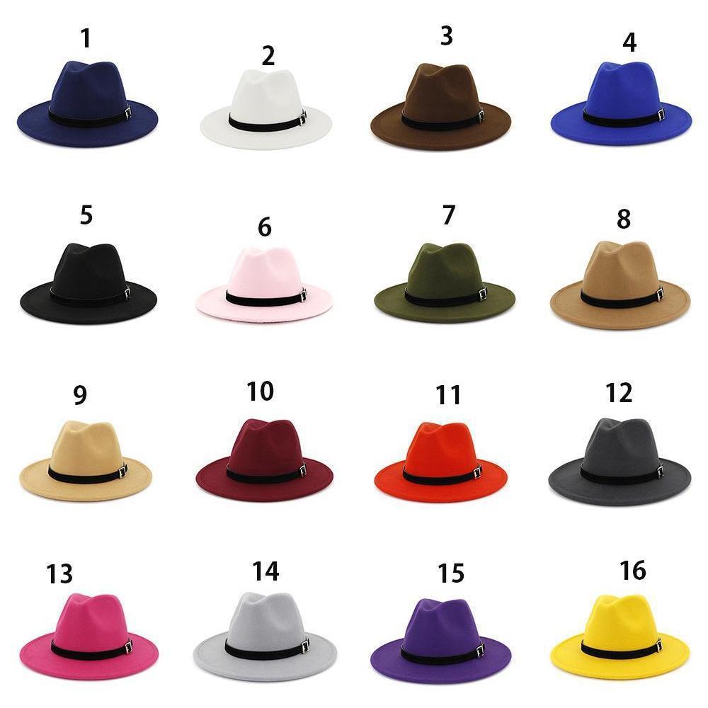 wool felt fedora panama hat women lady wool wide brim casual outdoor jazz cap 16 colors