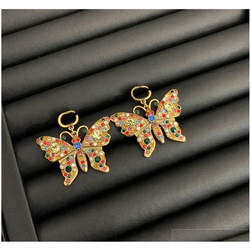 vintage butterfly crystal necklaces color diamond earrings studs brand letters designer bracelet women luxury jewelry sets