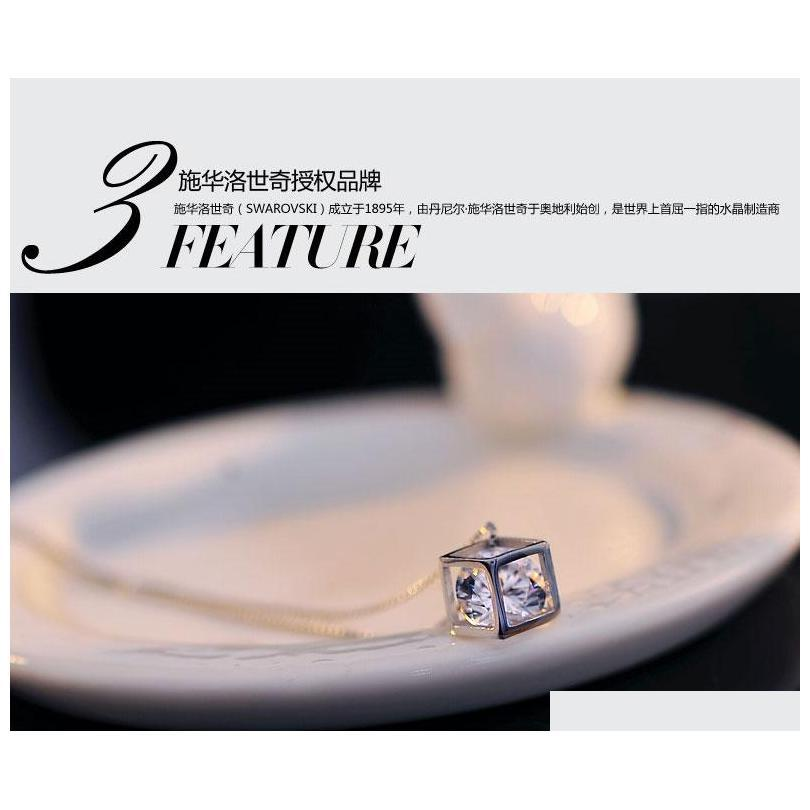 wedding jewelry 925 sterling silver pendant woman magic love square shiny zirconia crystal pendant water necklace shipping