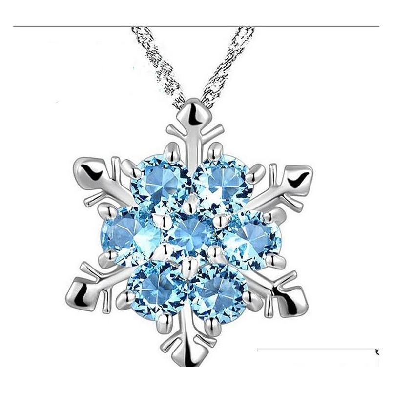 charm snow shape snowflake pendant necklace snowflake 925 sterling silver necklace chain austrian crystal snowflake necklace