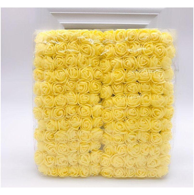 144pcs 2cm mini foam rose artificial flower bouquet multicolor rose wedding flower decoration scrapbooking fake