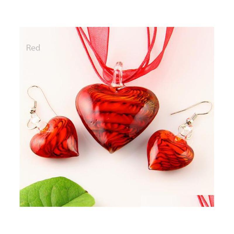 heart murano lampwork blown venetian glass necklaces pendants and earrings jewellery sets mus009 high fashion jewelry