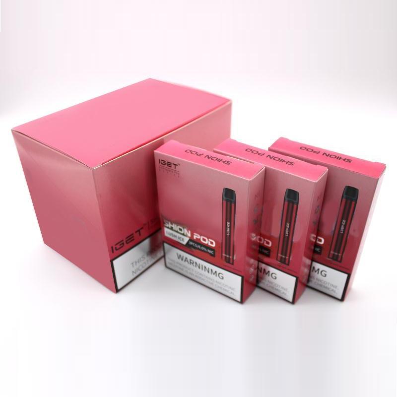 Original Iget Shion Dispositivo de Vagem Device 600 Puff 400mAh 2.4ml Vape Personalizado Pena de Vape Haka Barra Mais XXL Max 100% Authentic