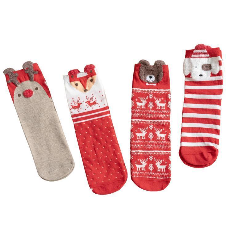4 개 스타일 겨울 여성 양말 레드 크리스마스 양말 귀여운 만화 엘크 사슴 개 양말면 따뜻한 아기 소녀 소년 소프트 양말을 유지