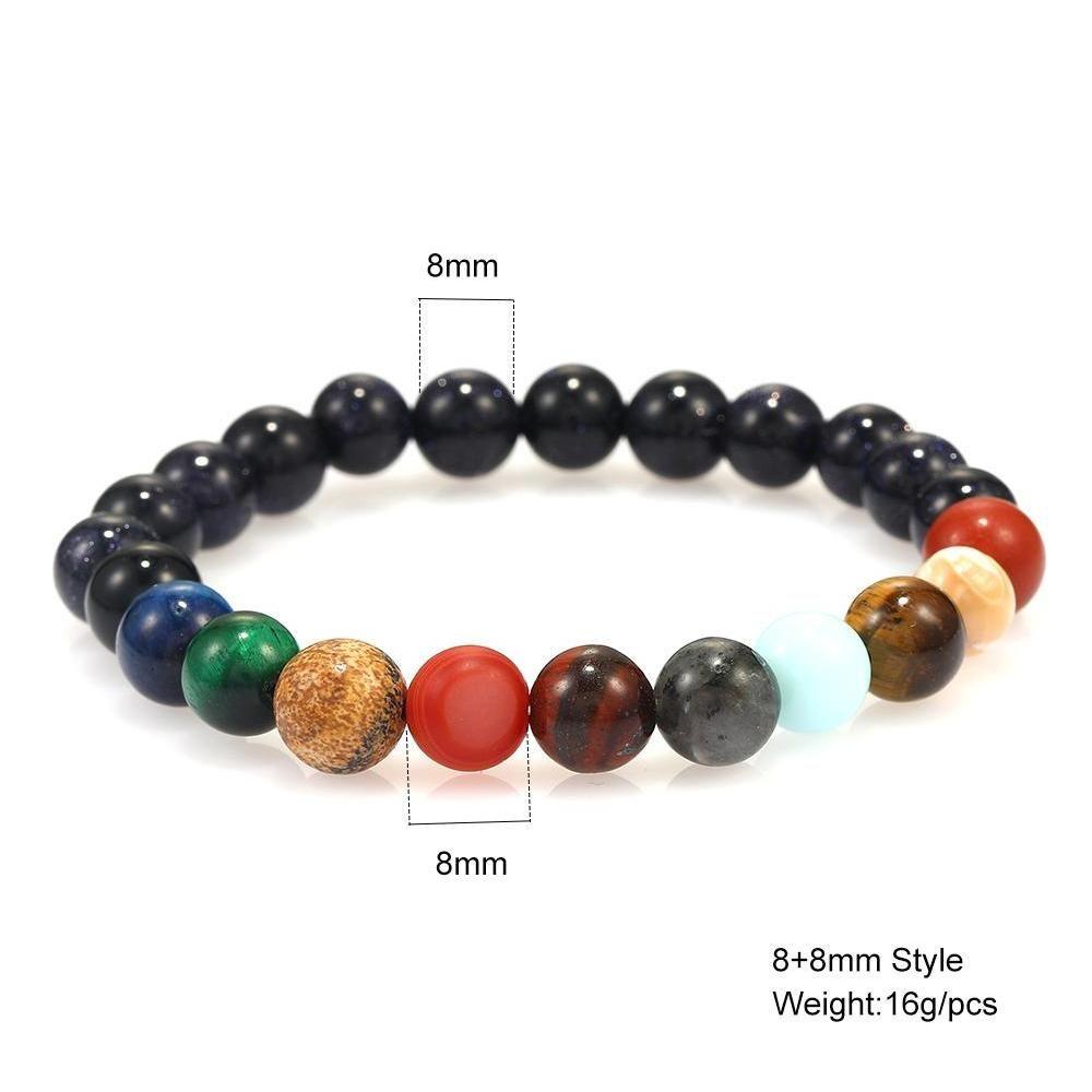 galaxy eight planets beaded bracelet men natural stone universe solar system yoga chakra bracelets for men women jewelry 2019