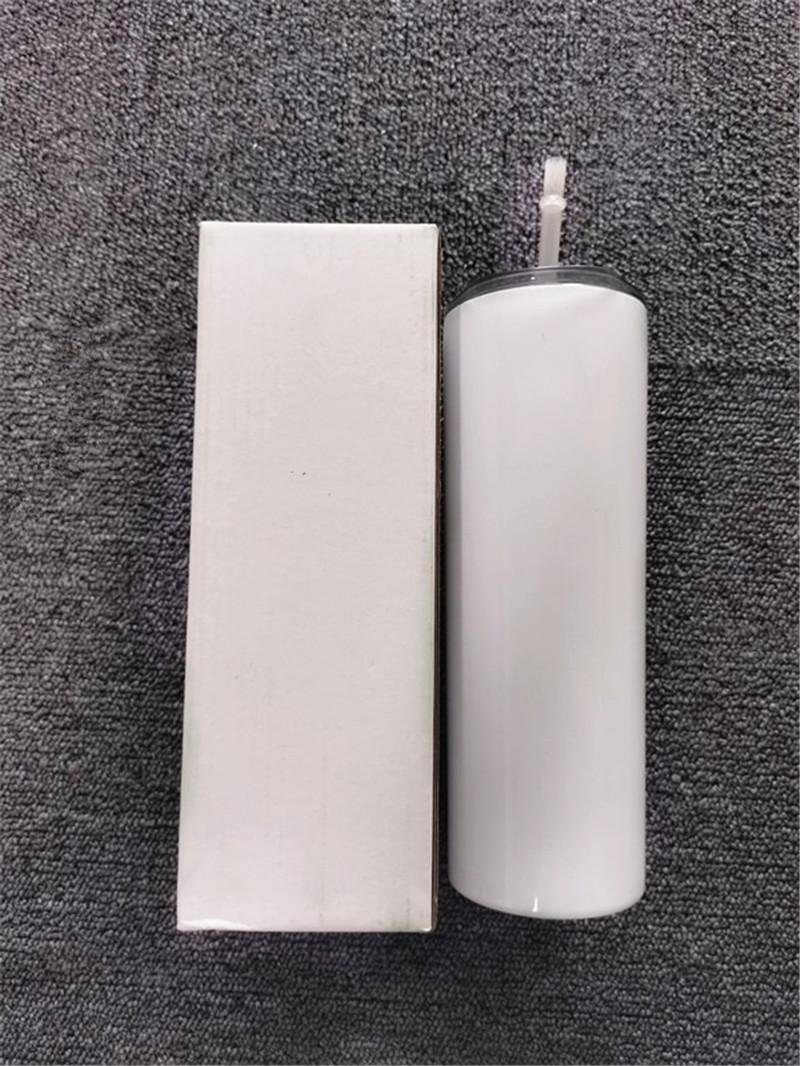 승화 스키니 텀블러 20 온스 뚜껑 짚을 가진 흰색 테이퍼 스키니 컵 20 온스 스테인레스 스틸 진공 열 전달 찻잔 DHL 배송 FY