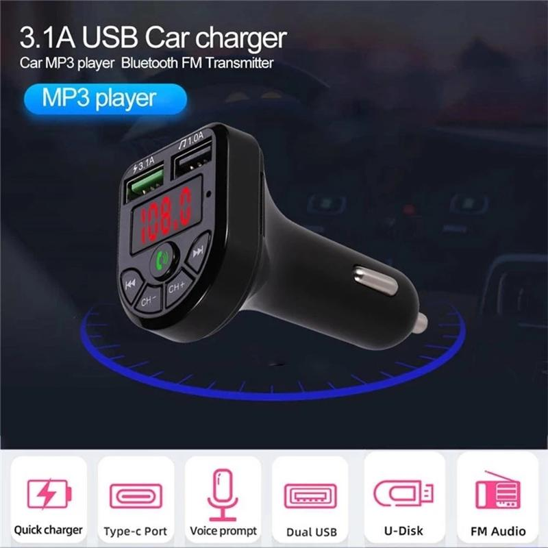 싼 Care3 Care5 다기능 블루투스 자동차 키트 송신기 3.1A / 1A 듀얼 USB 자동차 충전기 FM MP3 플레이어 지원 TF 카드 핸즈프리 지원