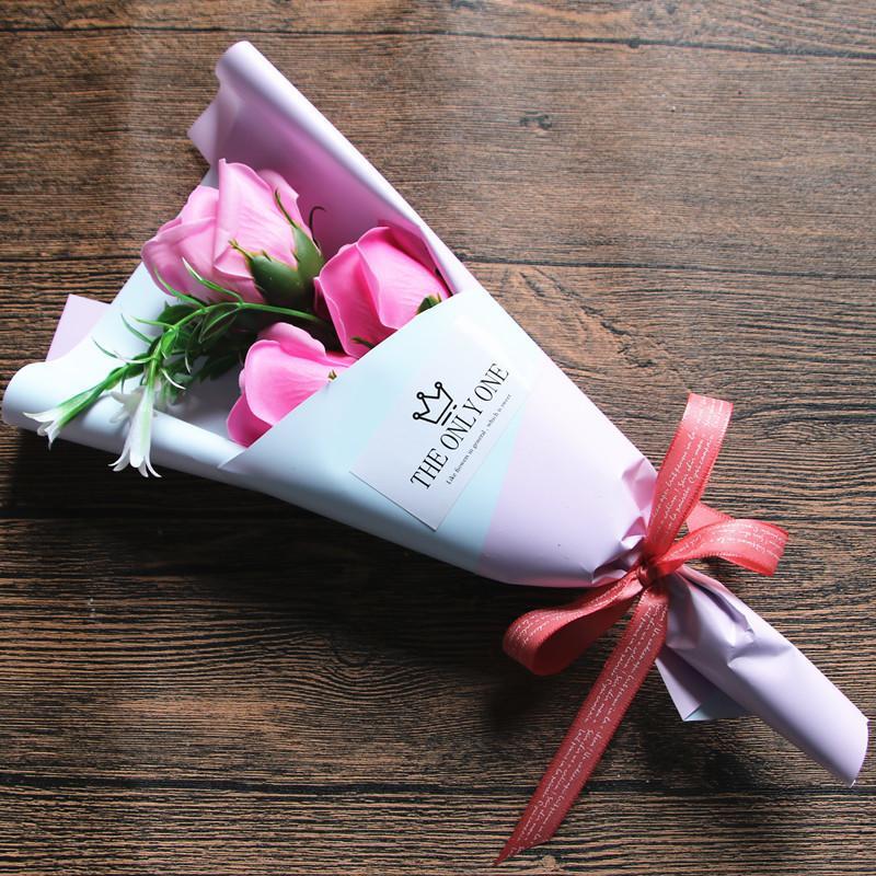 3 رأس الصابون روز زهرة باقة عيد الحب هدية روز قرنفل أمهات / مدرس يوم زهرة الحاضر 40 قطع T1I3519