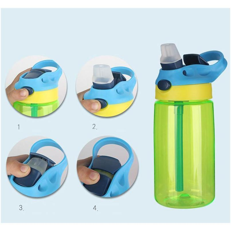 16oz kids water bottle sippy cup bpa plastic tumblers leak proof sport water bottles with flip lid leak spill proof mug bh3185