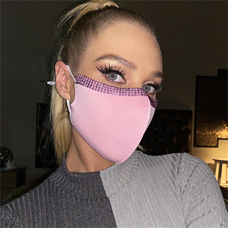 Moda cristallo riutilizzabile maschera viso adulto party bocca maschera lavabile strass maschera i decorazione del partito T3i51474