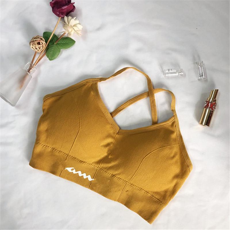 Klasik Mektup Spor Sutyen Kadın Kızlar Yoga Koşu Yelek Gym Gömlek Push Up Fitness Sütyen Lastic Kırpma Üst Lady Kızlar Nefes İç Giyim