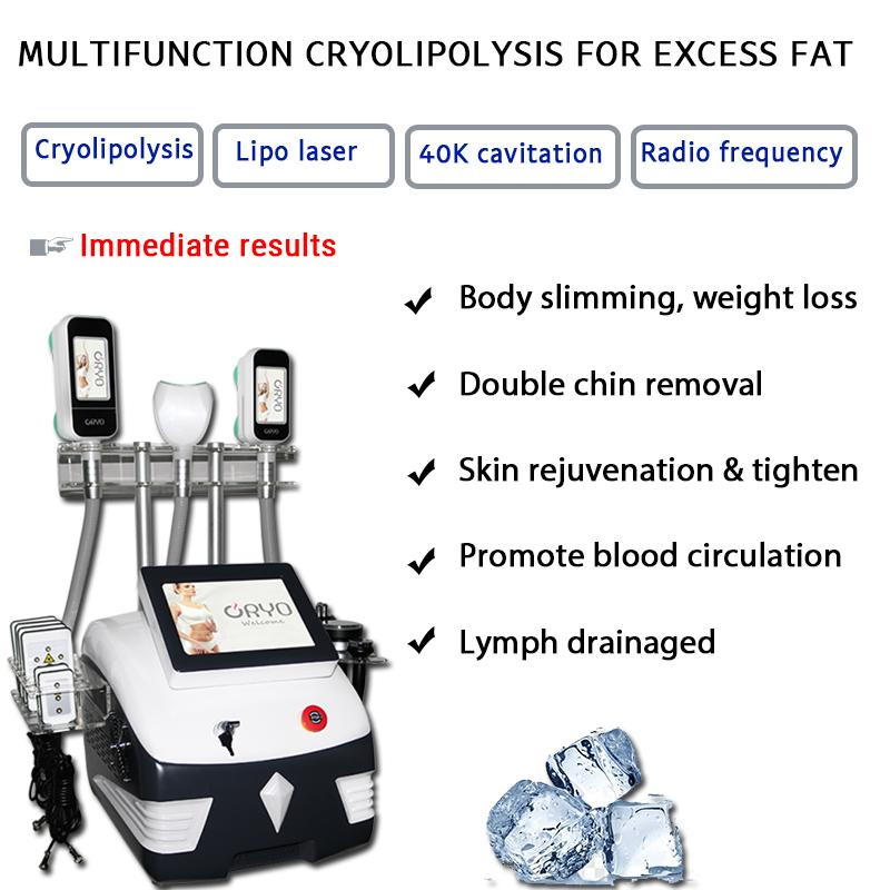 Cryolipolysis Body Slimming Machine 3 Cryo Lipolysis Vaccum Handles Ultrasonic com RF Rosto Elevador Elevador Vácuo Dispositivo de Cavitação