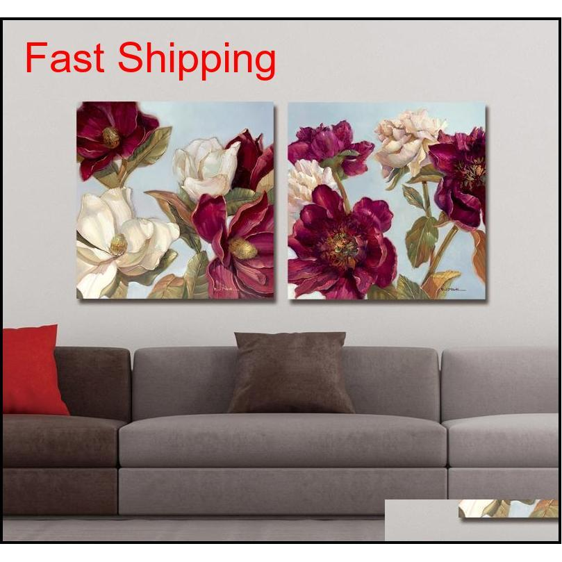 dyc 10061 2pcs red flowers print art ready to hang paintings