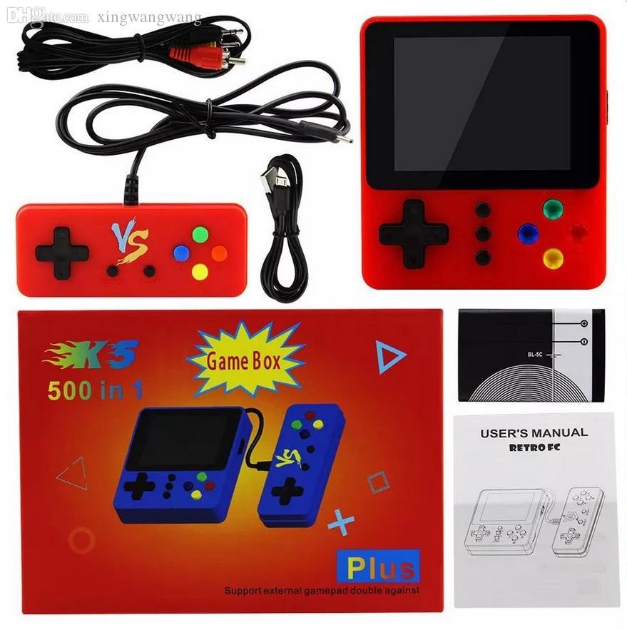 جديد K5 الرجعية التلفزيون فيديو لعبة وحدة التحكم المحمولة الزوجي المحمولة ألعاب مربع 500 في 1 أركيد fc nes ألعاب لاعب للأطفال ألعاب عيد الميلاد
