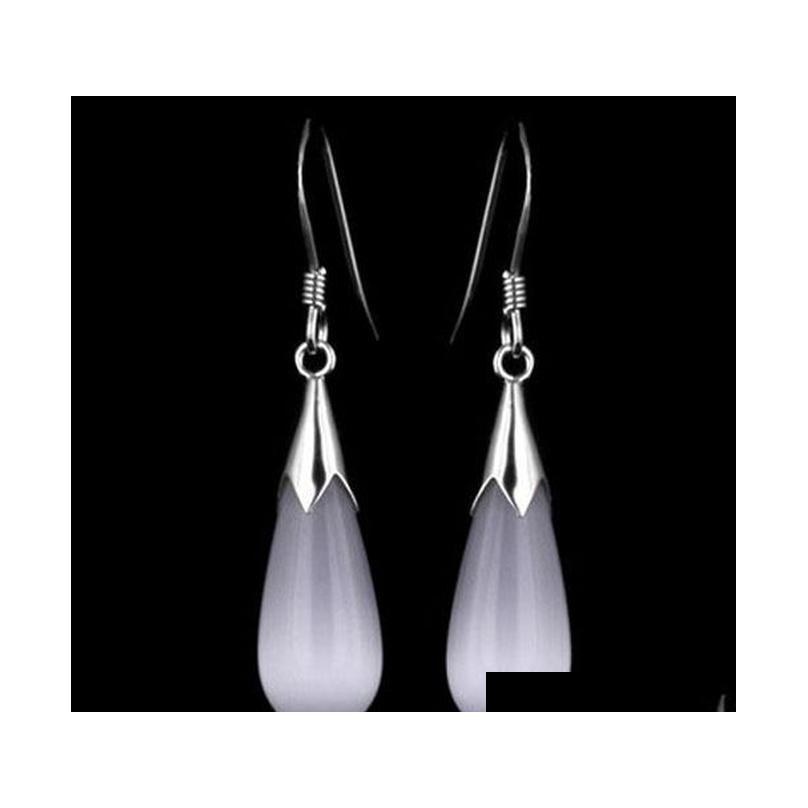 925 sterling silver opal earrings white gold overlay water drop pendant dangle fashion bohemian women earrings brand new
