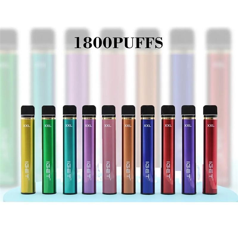 정통 IGET XXL 일회용 포드 장치 키트 1800 퍼프 950mAH 7ml PRIPILLED VAPE Stick for Bang Shion Plus Max Haka 스위치 100 % 정품