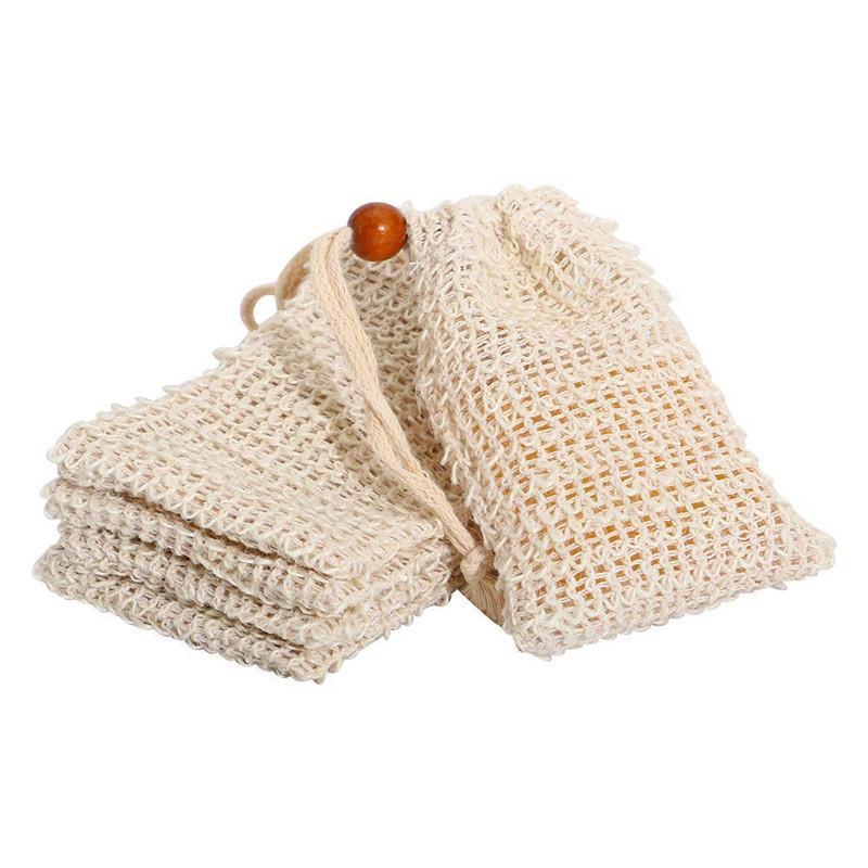 Natürliche Peeling-Mesh-Seifenschonerbürste Sisal-Tasche-Beutelhalter für Duschbadschäumen und Trocknen