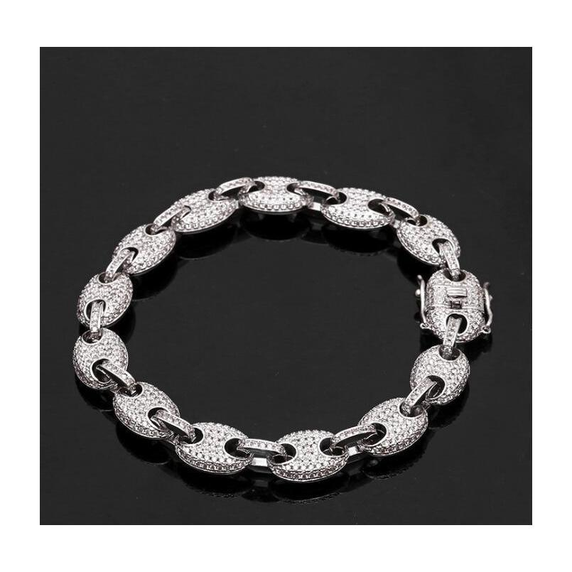 paper clip coffee bean lock clasp link 7-8 inch bracelet iced out zircon bling hip hop men jewelry gift beaded charms bracelets