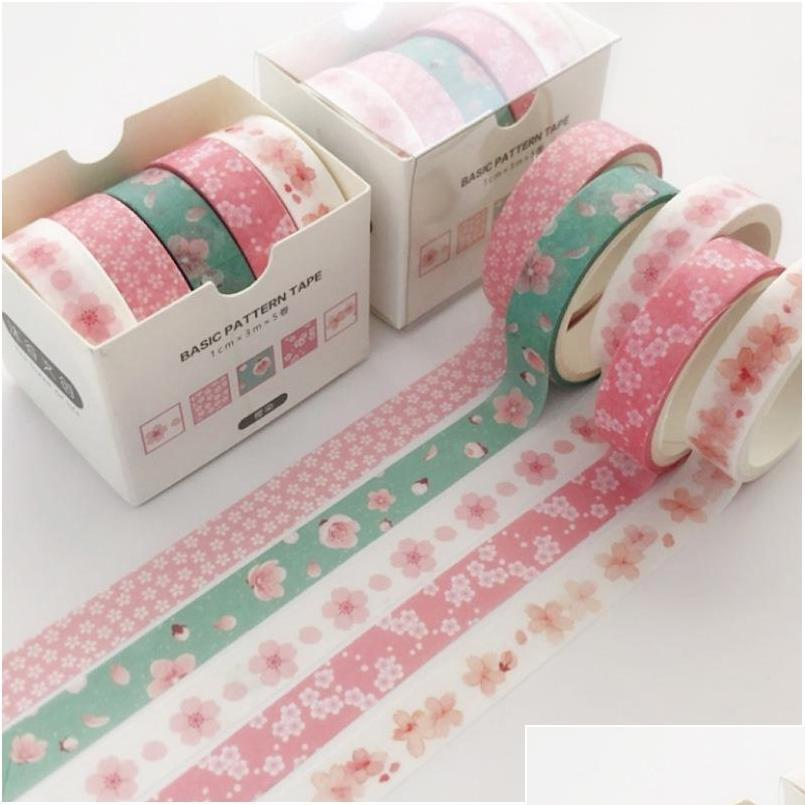 5 pcs/pack grid creative colorful decorative adhesive tape masking washi tape scrapbooking sticker label school office supply 2016