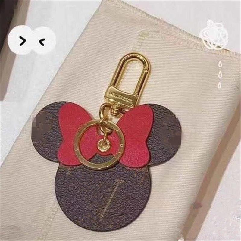 Moda Mulheres Keychain Grande Ear Keyring Bonito Pu Chaveiro Saco Chaveiro Charme Boutique Chave Titular Rato Design Chave Chave Acessórios 8 * 8cm 6 Cores