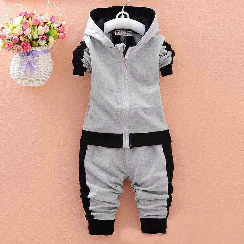 طفل رضيع بنين بنات العلامة التجارية الدعاوى الأطفال سترة رياضية + السراويل 2 قطعة / مجموعات الملابس مجموعة الاطفال رياضية