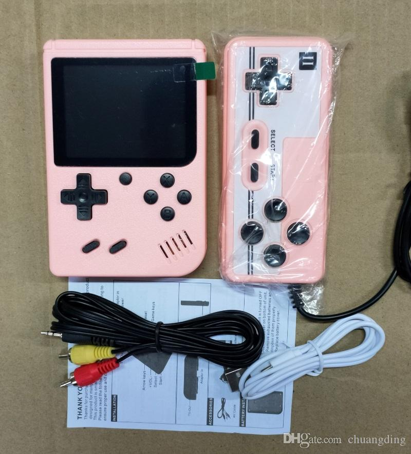 Doubles Console de jeu de jeux de poche Portable rétro Console de jeu vidéo peut stocker 800 dans 1 jeu 8 bits 3,0 pouces Coloré Berceau de berceau de LCD