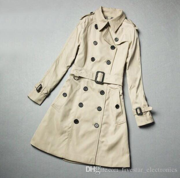 NEW ARRIVAL WOMEN FASHION ENGLAND LONDON MIDDLE LONG TRENCH COAT SPRING AUTUMN DOUBLE BREASTED CLASSIC OVERCOAT FOR WOMEN SIZE S-XXL