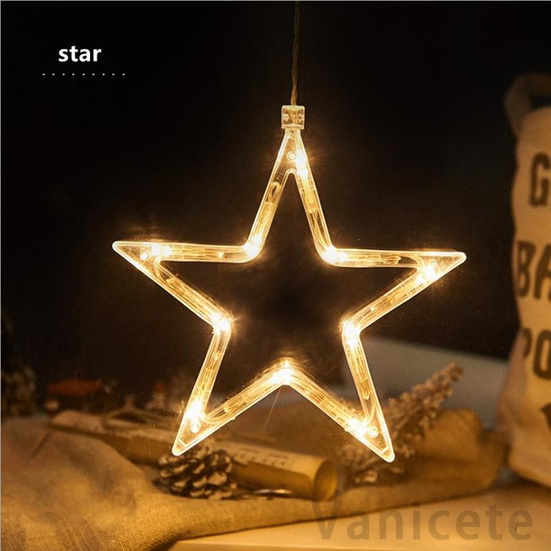 LED Christmas Light string suction cup hanging lamp Star string lights window room decoration lights Bells Snowflake Tree T1I3069