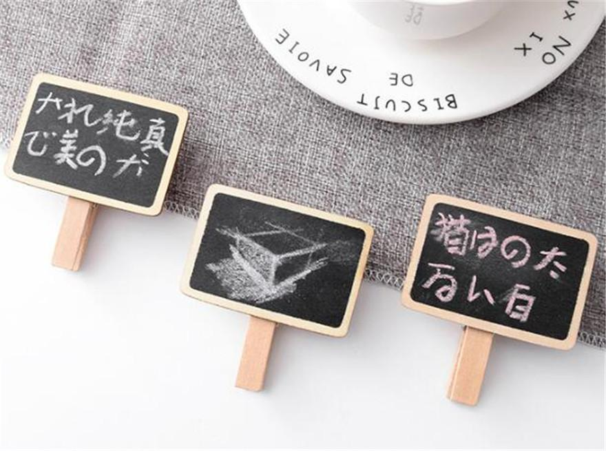 Mini Wooden Note Blackboard Clamps Retangle Chalkboard Blackboard Clip Tag Message Board For Wedding Party Paper Photo DIY